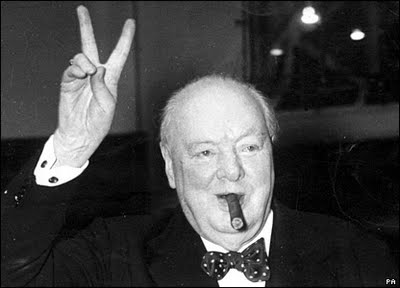 Churchill Victory sign