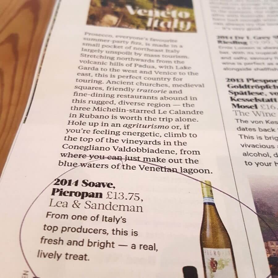 2014 Soave Pieropan - The Dish - Sunday Times - May 2016